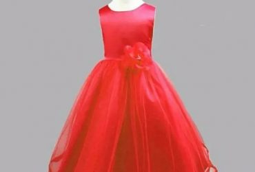 Girls Dress-red With Bow Details