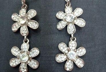 Flower Design Silver Bridal Earring
